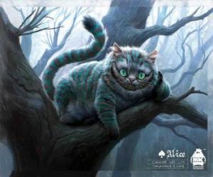 puzzel De kat van Cheshire rusten op een boomtak