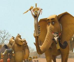 puzzel De Koning Julien XIII, de ring-tailed lemur met andere dieren