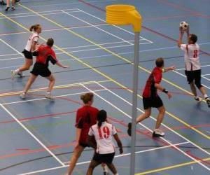 puzzel De korfbal, ook wel balonkorf, is een teamsport gespeeld tussen twee teams op zoek naar een bal te voeren in een mand.