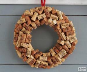puzzel De kroon van Kerstmis gemaakt met kurken