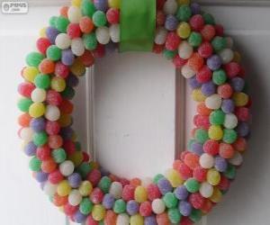 puzzel De kroon van Kerstmis snoepjes