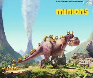 puzzel De Minions met de dinosaurus