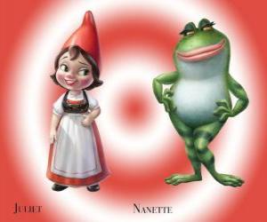 puzzel De mooie Julia, de dochter van de leider van de Rode tuinkabouters, samen met zijn beste vriend Nanette kikker tuin