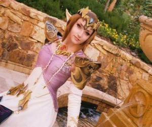 puzzel De mooie prinses Zelda met een roos in de hand