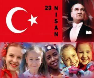 puzzel De nationale soevereiniteit en Kinderdag is te houden in Turkije, elke 23 april