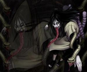 puzzel De ninja Orochimaru met slangen als onderdeel van zijn lichaam na verschillende wijzigingen