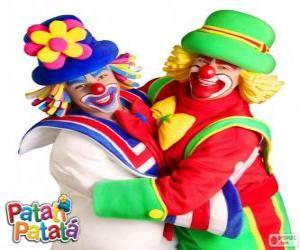 puzzel De omhelzing van de clowns, Patatí en Patatá