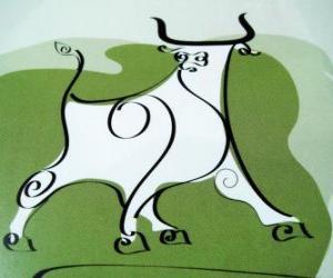 puzzel De Os, het teken van de buffel, het Jaar van de Os. Het tweede dier van de Chinese Zodiac