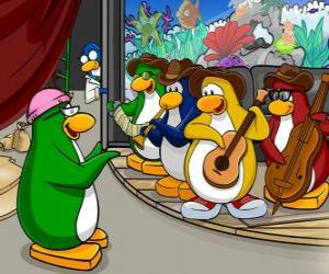 puzzel De Penguin Band, Billy G op drums en fluit, Petey K op piano en accordeon, Bob op bas en gitaar Franky.