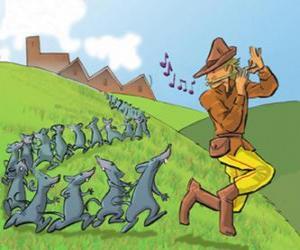puzzel De rattenvanger van Hamelen fluit spelen, gevolgd door ratten
