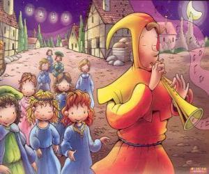 puzzel De rattenvanger van Hamelen op mysterieuze wijze met alle kinderen van de stad achter het geluid van de fluit