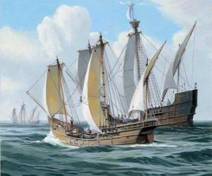 puzzel De schepen van de eerste reis van Columbus was het schip Santa Maria, en de karvelen, de Pinta en de Nina