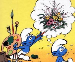 puzzel De Schilder Smurf schilderde de gedachten van een ander Smurf