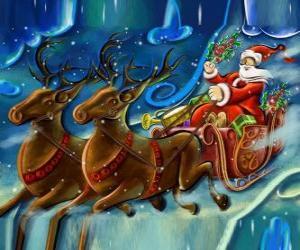 puzzel De slee vol cadeautjes vliegen met Santa Claus en de magie rendieren