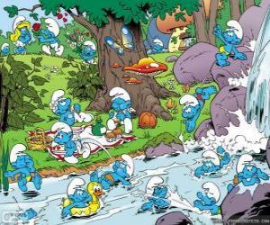 puzzel De Smurfen in de rivier