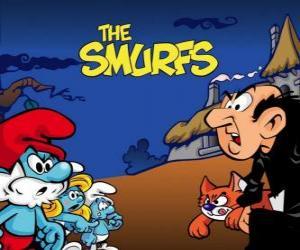 puzzel De Smurfen versus kwaad tovenaar Gargamel en zijn kat Azrael