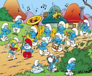 puzzel De Smurfen zijn een band
