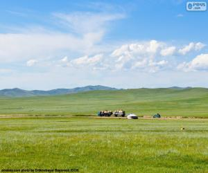 puzzel De steppe van Mongolië
