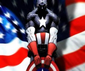 puzzel De superheld Captain America is een patriottisch en een expert in close combat