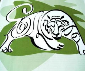 puzzel De tijger, de tijger teken, het Jaar van de Tijger. Het derde teken van de twaalf dieren van de Chinese Zodiac