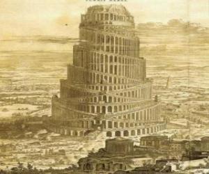 puzzel De Toren van Babel, waarin mannen gevraagd naar de hemel te bereiken