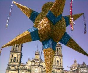 puzzel De traditionele piñata in Mexico op Kerstmis, een negen-puntige ster, de ster van Bethlehem