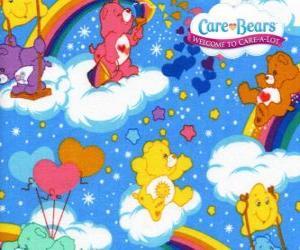 puzzel De Troetelbeertjes spelen met de wolken en de regenbogen