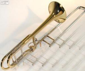 puzzel De trombone is een muziekinstrument dat van messing hoorn