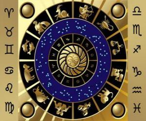 puzzel De twaalf tekens van de dierenriem, de dierenriem wiel of cirkel van de Dierenriem