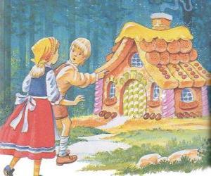 puzzel De twee broers Hans en Grietje te ontdekken van een huis gemaakt van heerlijke snoepjes