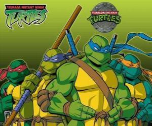 puzzel De vier Ninja Turtles: Leonardo, Michelangelo, Donatello en Raphael. Teenage Mutant Ninja Turtles of TMNT