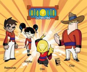 puzzel De vier Xiaolin krijgers: Raimundo, Kimiko, Omi en Clay