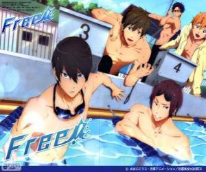 puzzel De vijf protagonisten van Free! Rin, Haruka, Nagisa, Rei en Makoto