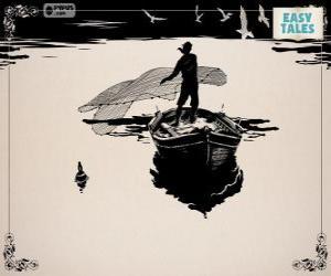 puzzel De visser met zijn oude boot vissen