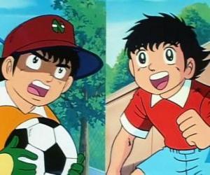 puzzel De voetballer Tsubasa Ozora en zijn vriend Genzo Wakabayashi die speelt als keeper