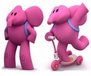 puzzel De vriendelijke olifant is de sterkste Elly en helpt altijd zijn vrienden