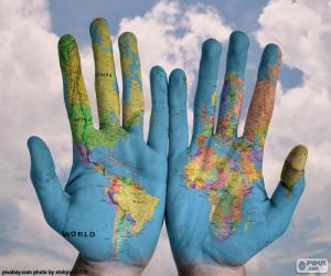 puzzel De wereld in onze handen