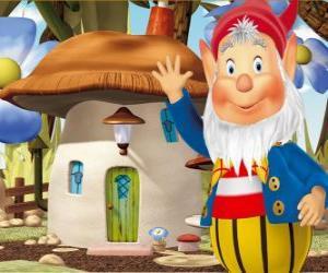 puzzel De wijze Big-Ears, een bebaarde gnome die woont in een paddestoel huis