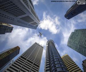 puzzel De wolkenkrabbers van Singapore