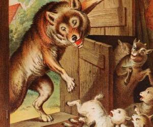puzzel De zeven geitjes zijn bang en rennen en verstoppen als ze de wolf te zien aan de deur