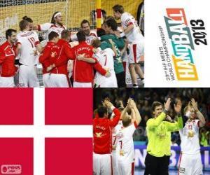 puzzel Denemarken op handbal 2013 World Cup zilveren medaille