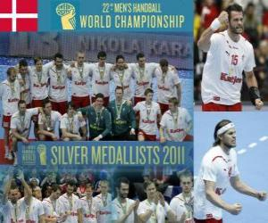 puzzel Denemarken Zilveren Medaille in de 2011 World Handbal