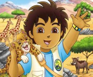 puzzel Diego en Baby Jaguar helpen de dieren in gevaar in de serie Go, Diego, Go!