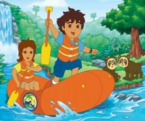 puzzel Diego en zijn moeder in een opblaasbare boot