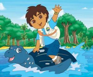 puzzel Diego op zee op het schild van een zeeschildpad