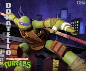 puzzel Donatello, het wapen van deze ninja schildpadden is de Japanse lange stok Bo