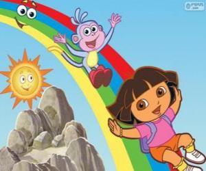 puzzel Dora, Boots en de regenboog