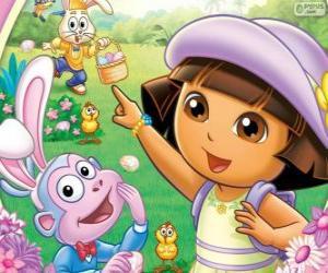 puzzel Dora de Explorer met Pasen