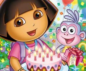 puzzel Dora de explorer viert haar verjaardag