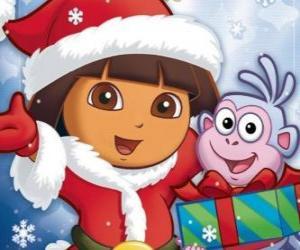 puzzel Dora de explorer wenst u fijne feestdagen Christmas
